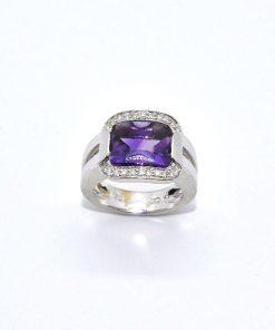 18k White Gold Diamond Fashion Amethyst Ring