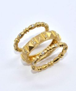 Yellow Gold Diamond Fashion Stackable Rings