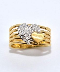 Yellow Gold Diamond Heart Fashion Ring