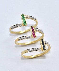 14k Yellow Gold Diamond Stackable Rings