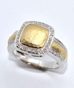 Satin Hammered Diamond Fashion Ring