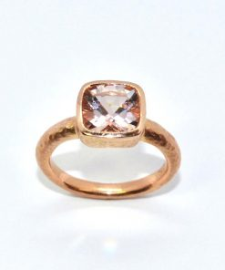 Pink Gold Amethyst set in a Hammered Setting