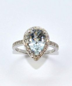 Diamond & Aquamarine Pear Shaped Ring