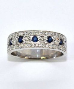18k White Gold Diamond & Blue Sapphire Band