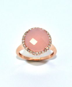 Diamond and Round Rose Quartz Stone Ring