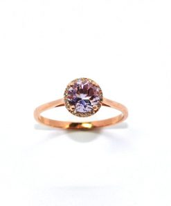 Diamond and Round Amethyst Ring
