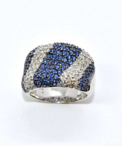 Diamond and Blue Sapphire Cocktail Ring