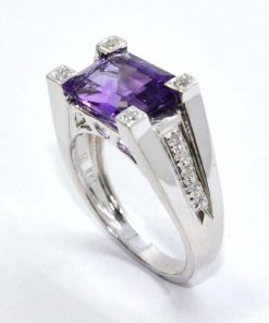 Diamond & Emerald Cut Amethyst Ring
