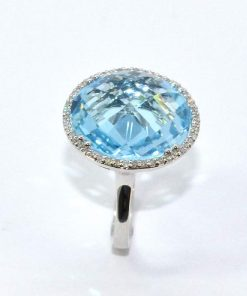 White Gold Diamond & Round Blue Topaz Ring
