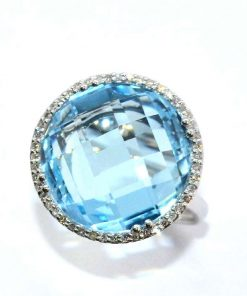 Diamond & Round Blue Topaz Ring