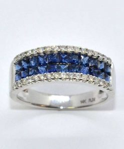 White Gold Diamond & Blue Sapphire Band