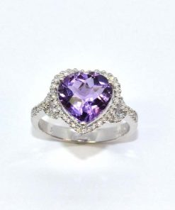 Diamond & Heart Shaped Amethyst Ring