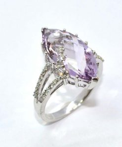 Diamond & Marquise Amethyst Ring
