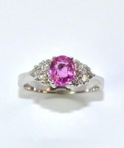 Diamond & Oval Pink Sapphire Ring