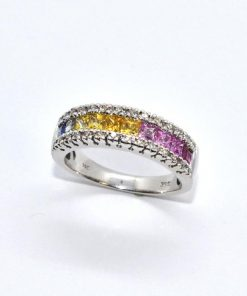 iamond & Multi-Colored Precious Stone Band