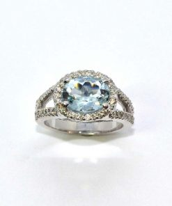 Diamond & Oval Aquamarine Ring