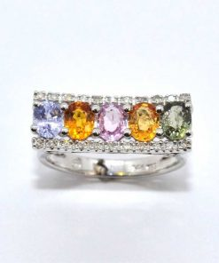 Diamond & Oval Shaped Multi-Colored Precious Stone Ring