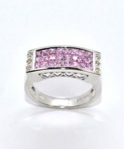 Diamond &Pink Sapphire Fashion Ring