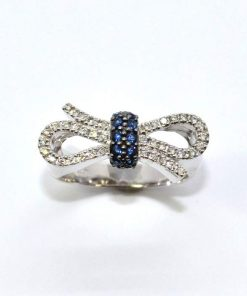 Diamond & Sapphire Bow Design Fashion Ring