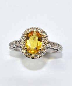 Diamond Halo & Yellow Sapphire Ring