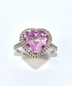 Heart Shaped Pink Topaz & Diamond Ring