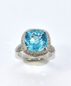 Pave Diamond & Blue Topaz Ring