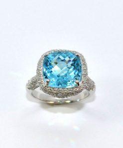 Pave Diamond & Blue Topaz Ring