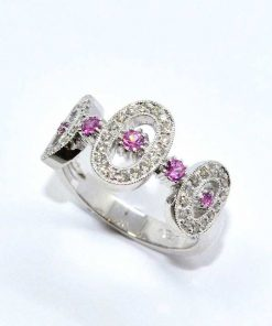 White Gold Diamond & Pink Sapphire Ring
