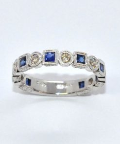Round Diamond & Princess Cut Sapphire Ring