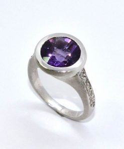 Satin Finished Diamond & Amethyst Ring