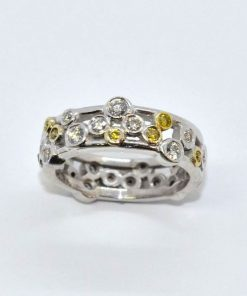 White & Yellow Diamond Eternity Band