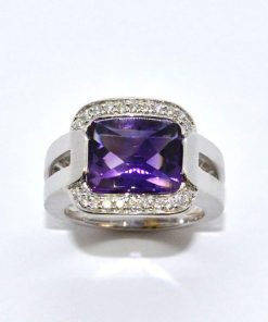 White Gold Diamond & Amethyst Ring