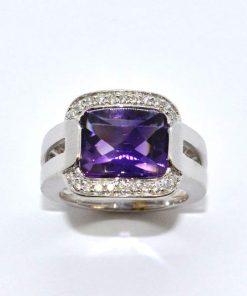 White Gold Diamond & Amethyst Ring