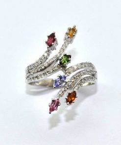 Diamond & Colored Semi-Precious Stone Fashion Ring
