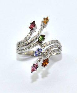Diamond & Colored Semi-Precious Stone Fashion Ring