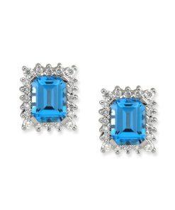 blue topza & diamond earrings
