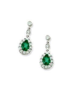 White Gold Emerald Drop Earrings