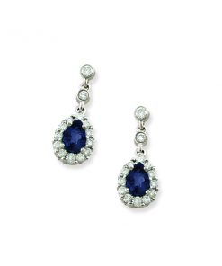 pear shaped sapphire & diamond earrings