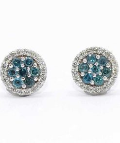 cluster studs white gold