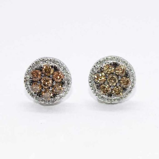 brown & white diamond cluster studs
