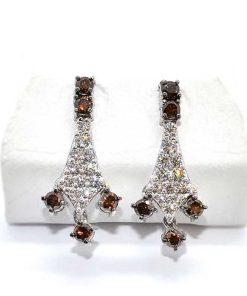 white & brown diamond chandelier earrings