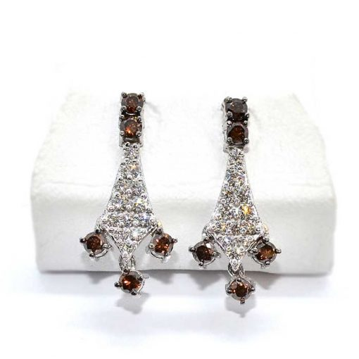 white & brown diamond chandelier earrings