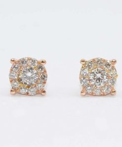 Pink Gold Diamond Cluster Studs