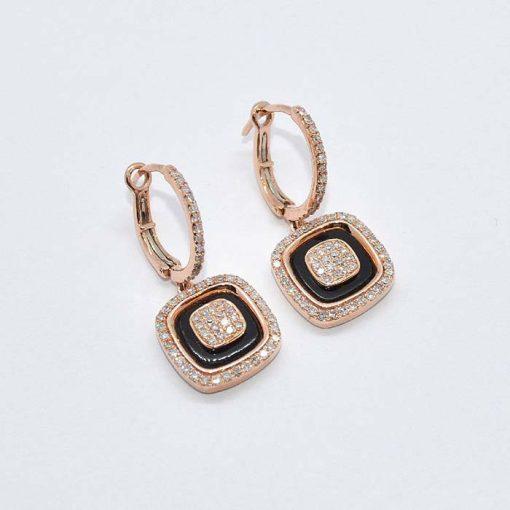 Diamond & Onyx Drop Earrings