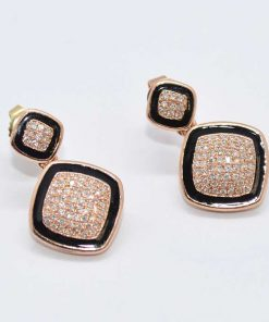 Pink Gold Diamond & Onyx Earrings