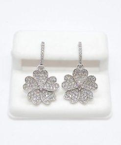 hanging floral diamond earrings