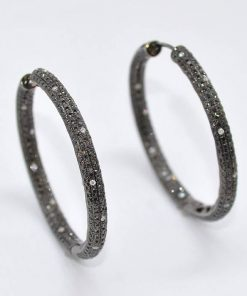 In-Out Black Diamond Hoops