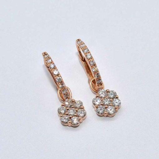 Pink Gold Diamond Cluster Earrings
