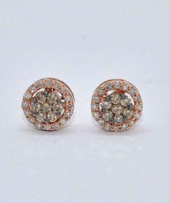 Pink Gold Diamond Cluster Studs