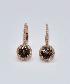 Gold Smokey Topaz Diamond Drop Earrings